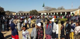 Voters waiting to cast their votes at Kalingalinga Middle Basic School, Lusaka