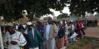 Queues of voters at Muljala School polling station in Livingstone yesterday. Picture by BRIAN HATYOKA