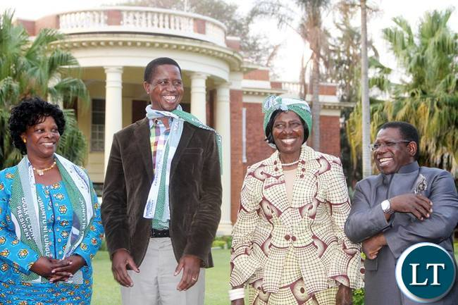 President Lungu share a light moment with First Lady Esther Lungu, Vice-President Inonge Wina and his Campaign manager Samuel Mukupa