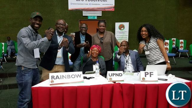 MEMBERS of different political parties pose for a picture to show a unity of purpose as they wait for results from the 2016 General Election at Mulungushi International Conference Centre in Lusaka.