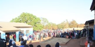 A long queue of people at Mchini Primary School in Chipata yesterday.Pictures By JULIUS PHIRI