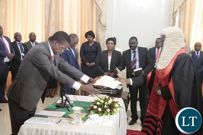 President Edgar Lungu receives latter of orth from Newly appointed Speaker of the National Assembly Patrick Matibini during swearing in Ceremony