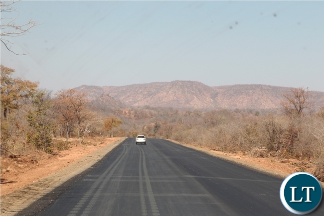 Part of the tared Chirundu-Lusaka road under construction by China Henan in Chirundu District