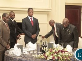President Edgar Lungu(c) with President Robert Mugabe of Zimbabwe and first republican President Kenneth Kaunda at State House