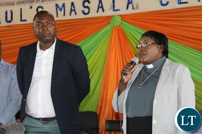 Kabushi MP Bowman Lusambo being introduced at a church congregation by UCZ Masala Congregation Reverand
