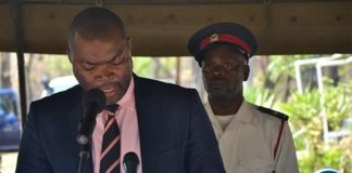 Copperbelt Minister Bowman Lusambo delivering his speech during the 55th commemoration of the death of Dag Hammarskjöld