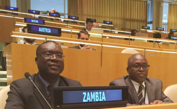 Ministry of Health Permanent Secretary Dr Peter Mwaba (left) and Ministry of Foreign Affairs Assistant Director (International Organisations) Eliphas Chinyonga attending the United Nations High-Level meeting on Antimicrobial Resistance (AMR) in the UN General Assembly Hall in New York on 21 September, 2016. PHOTO | ZAMBIA UN MISSION | PRESS OFFICE