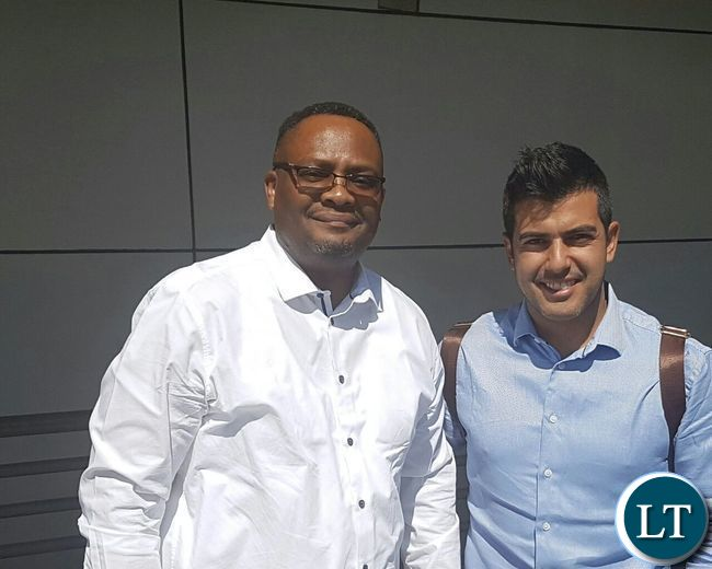 Zambia's High Commissioner to SA, His Excellency Mr. Emmanuel Mwamba with former Real Madrid player Rayco Garcia at the O.R. Tambo International Airport in Johannesburg on 25th September, 2016.