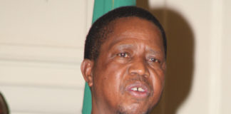 President Edgar Lungu stressing a point