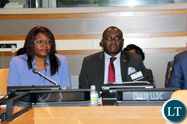 Landlocked Development Countries (LLDCs) : Zambia Foreign Affairs Permanent Secretary Ambassador Chalwe Lombe (right) and the Permanent Representative to the United Nations Ambassador Dr Mwaba Kasese-Bota at the 15th Annual Ministerial Meeting of LLDCs Foreign Affairs Ministers at UN HQ New York USA 22 September, 2016. PHOTO | CHIBAULA D. SILWAMBA | ZAMBIA UN MISSION