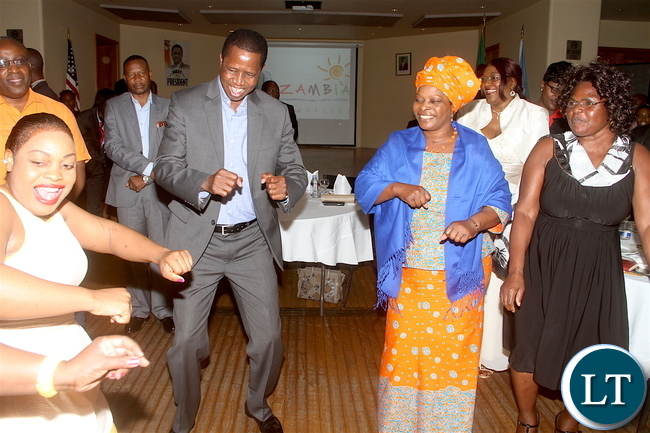 President Lungu and First Lady Esther Lungu join Zambian's on the dance floor during the Meet The President Dinner at Croatian Church, Cyril and Methods and St Raphael Catholic Church in New York on Sunday, September 18, 2016 -Pictures by THOMAS NSAMA