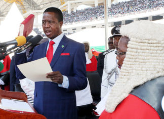 President Lungu being Sworn in by Chief Justice Irene Mambilima