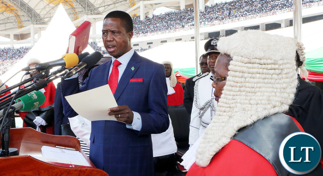 President Edgar Lungu Being Sworn in By  the Chief Justice Irene Mambilima