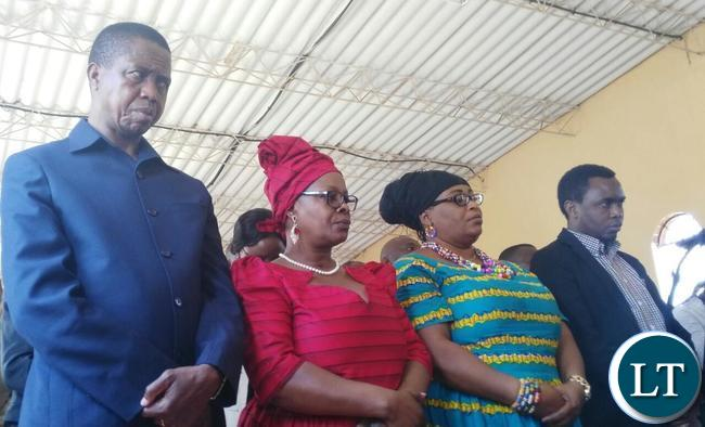 President Edgar Lungu and First Lady Esther Lungu attends mass at Divine Mercy Catholic Church in Lusaka on Sunday.