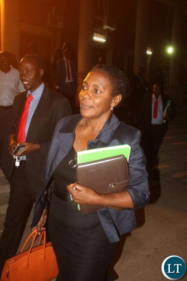 UPND Lawyer Nelli Mutti leaving the Court this evening