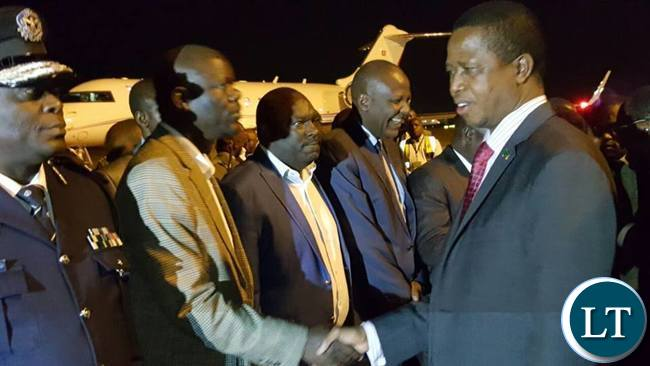 President Lungu being welcomed by PF Secretary General Davies Mwila