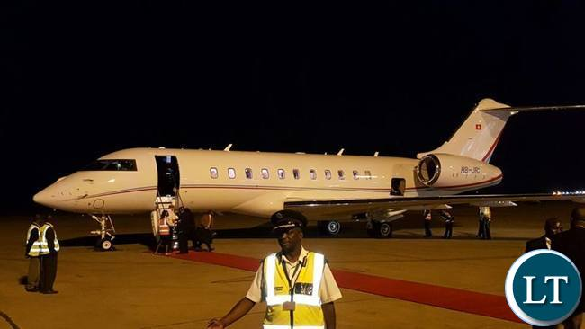 Chartered Plane that took the President to Ne York lands at Kenneth Kaunda International Airport