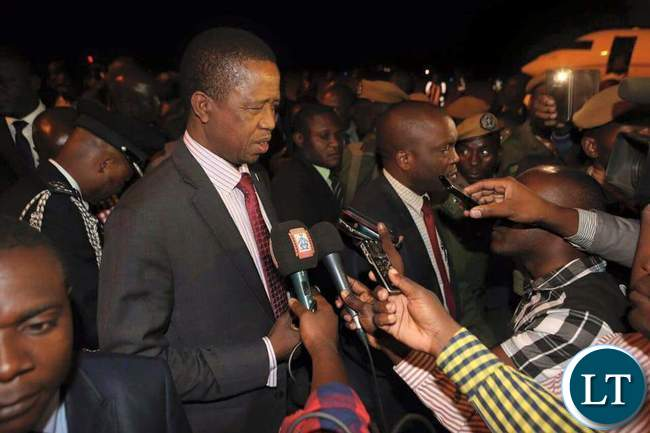 President Lungu Speaking to Journalists