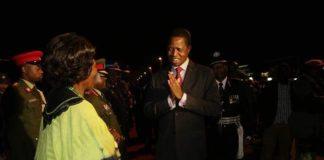 President Lungu being welcomed by Vice President Inonge Wina