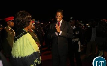 President Lungu being welcomed by Vice President Inonge Wina