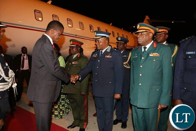 President Lungu being welcomed by Service Chiefs