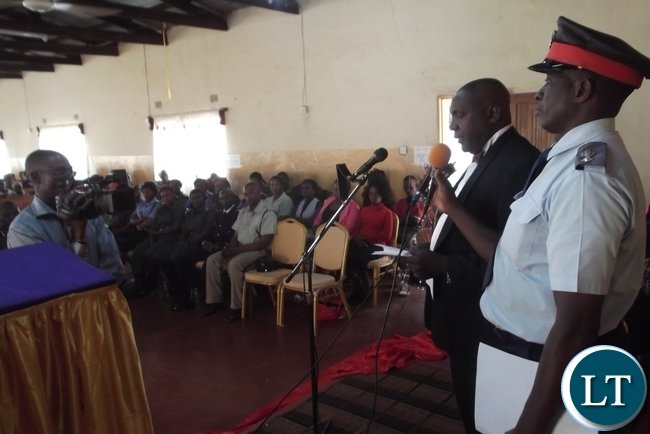 Luapula Permanent Secretary Boniface Chimbwali delivering his message of peace at an Interdenominational prayer meeting in Mansa at Glory Temple of the Apostolic Church in Zambia.