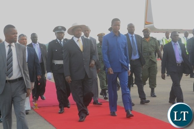 President Edgar Lungu welcomes President   of Uganda Yoweri Museveni at Kenneth Kaunda Airport