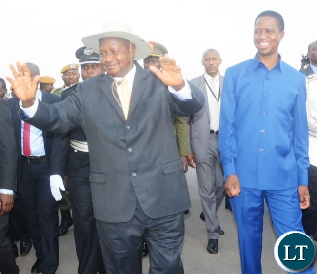 President Edgar Lungu with President   of Uganda Yoweri Museveni during his arrival at Kenneth Kaunda Airport