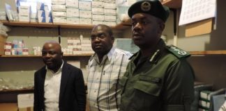 Minister of Health Chitalu Chilufya (centre) with Home Affairs Minister Stephen Kampyongo (left) and Zambia Correctional Service Commissioner General Percy Chato (right) during the inspection of Livingstone Central Correctional Service mini Hospital in Livingstone