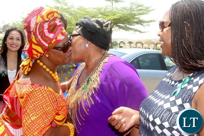 First Lady Esther Lungu with Former First Ladies Maureen Mwanawasa (R) and Vera Chiluba (C) on arrival at Northmead Primary School for the Commemoration of Global Handwashing Day in Lusaka on Wednesday,October 12,2016-Picture by THOMAS NSAMA