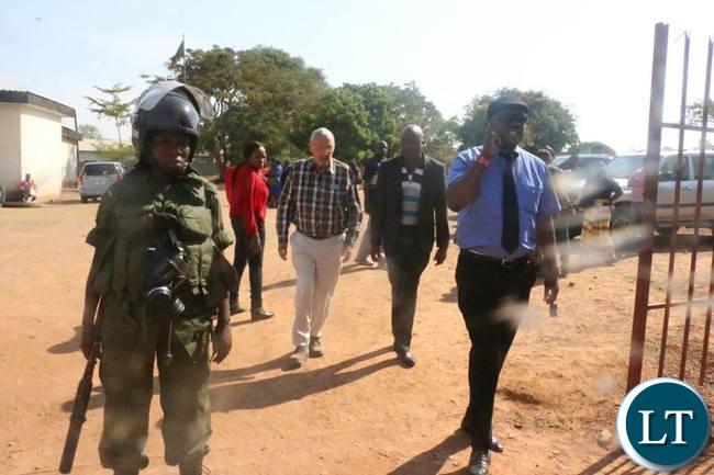 Garry Nkombo, Douglas Siakalima and Guy Scott in Luanshya this morning