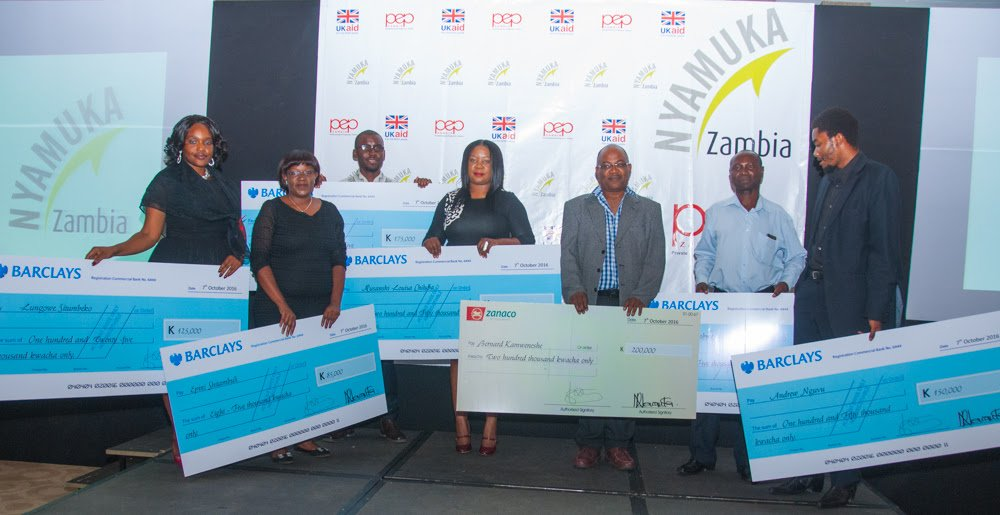 Winners of the 2016 Nyamuka Zambia business plan competition.