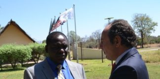 Ministry of Lands, National Resources and Environmental Protection Permanent Secretary Trevor Kaunda (left) and UNDP country director Martim Maya (right) outside David Livingstone Lodge in Livingstone yesterday during the second Regional Workshop for Africa of the Biodiversity Finance Initiative (BIOFIN)