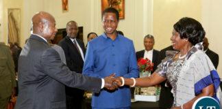 President Museveni Greets Mrs Wina