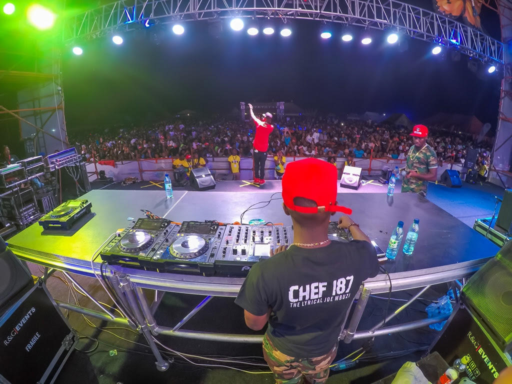 Chef 187 live on stage at the R&G Oktoberfest sponsored by Castle Lite.