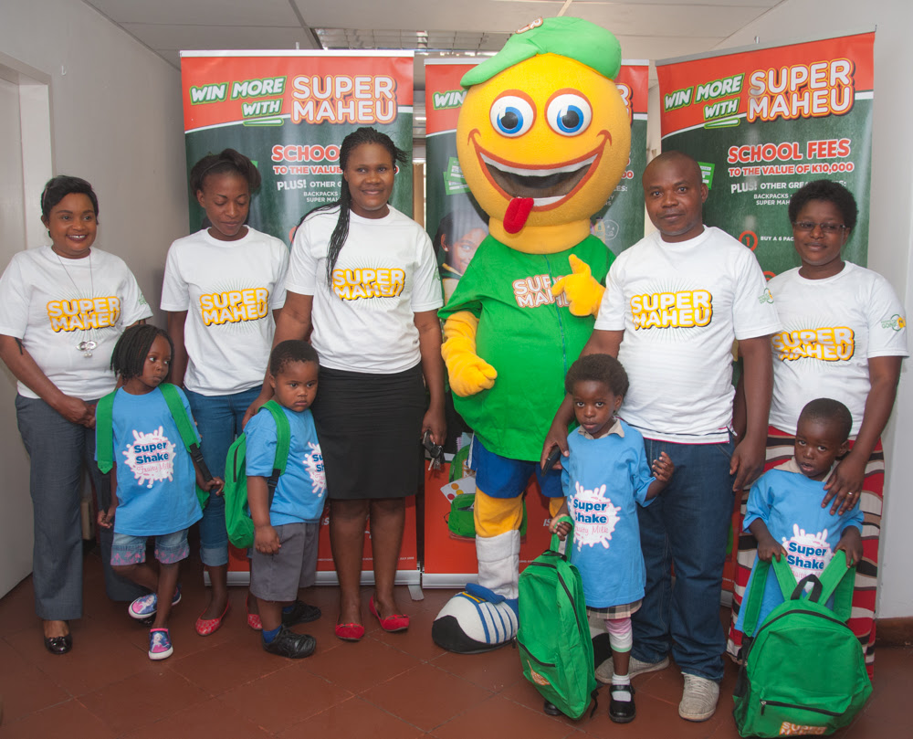 Super Maheu back-to-school promotion winners celebrates their awards.