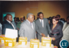 Then President Rupiah Banda inspecting Diapers supposedly produced in Zambia