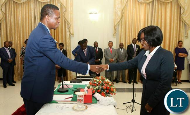 President Lungu swearing in Director of Public Prosecution Fulata Lillian Shawa Siyuni