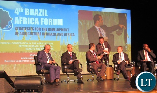 Head of International Relations at EMBRAPA Mr. Mario Seixas (seated second left) during a panel discussion at the 4th Africa Brazil Forum in Foz do Iguacu Brazil