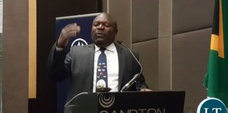 Minister for National Development Planning, Mr. Lucky Mulusa speaking when he delivered the keynote address at the opening of the 'Invest in Zambia Business Forum' at Sandton Convention Centre in Johannesburg