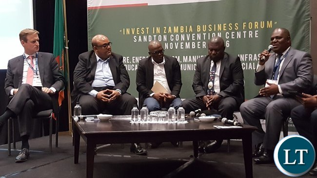 Zambia Energy Forum Chairperson Mr. Johnstone Chikwanda speaking during a panel discussion at the 'Invest in Zambia Business Forum' at Sandton Convention Centre in Johannesburg