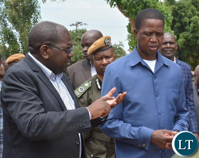 President Edgar Lungu(r) and Health Minister Chitalu Chilufya(l) after the visit to Kalingalinga Clinic. Picture by Ennie Kishiki/Zanis.
