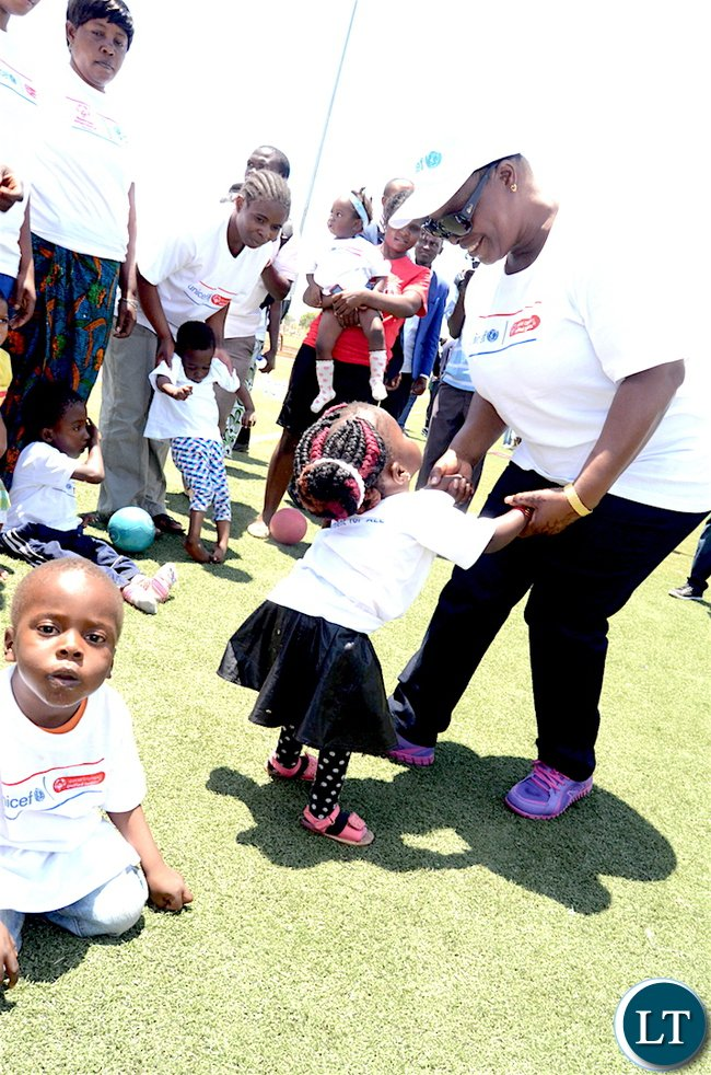 First Lady Esther Lungu with children of special needs during the UNICEF's Special Olympics at OYDC in Lusaka