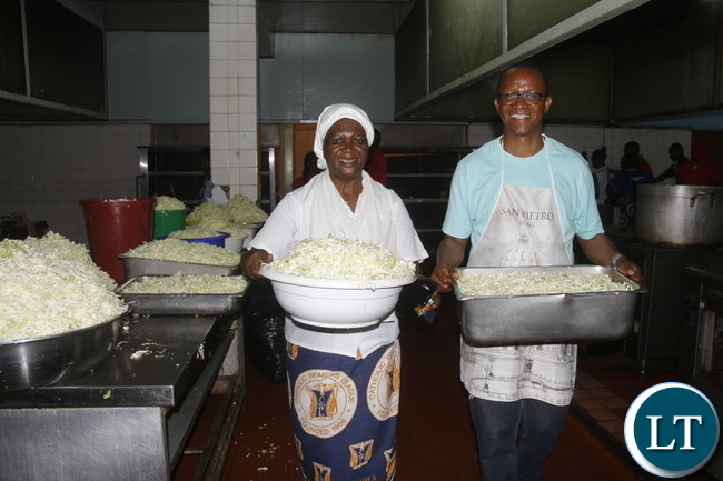 ZEMA PR Mrs Irene Lungu busy in the UTH Kitchen.