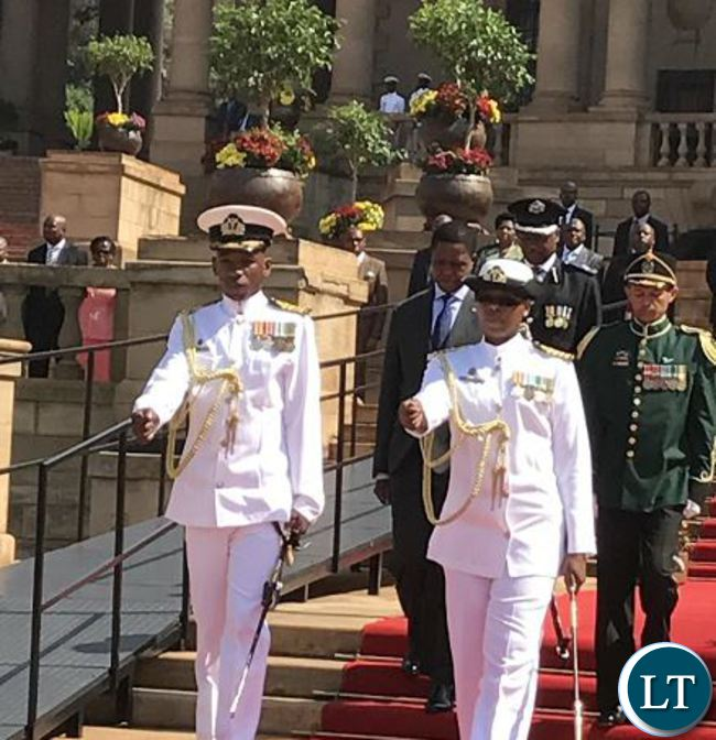 President Lungu inspecting the South African National Defence Force guard