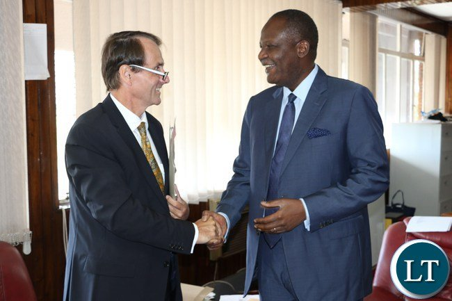Finance Minister Felix Mutati and the German ambassador Achim Bukart