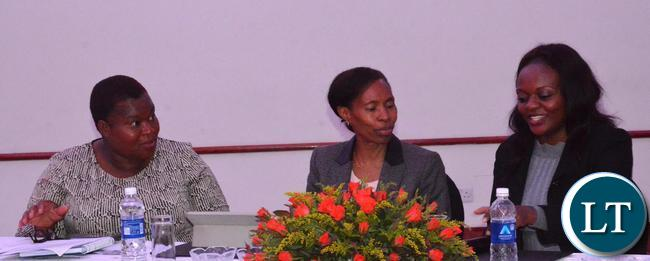 Ministry of Commerce,Trade and Industry Permanent Secretary Kayula Siame(c),Agriculture Director Planning Mwila Daka(r) and National Trade Facilitation Committee Secretariat Patricia Mwela(l) during the Consultative Meeting on the Border Management(Trade Facilitation) Bill,2017