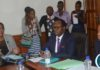 Minister for Agriculture Dora Siliya (r) ,Minister of Northern Province Brian Mundubile (c) with the Permanent secretary for Ministry of Agriculture Julius Shawa during a press briefing at the Ministry of Agriculture headquarters.Picture by Josephine Nsululu/Zanis.
