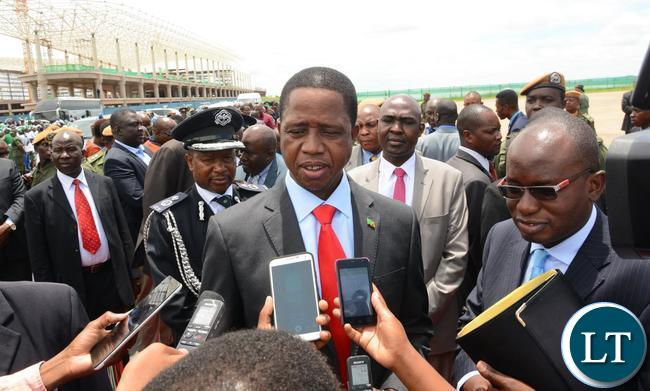 President Edgar Lungu talking to Journalists at Kenneth Kaunda International Airport before departure for Ethiopia