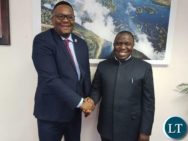 Foreign Affairs Minister Harry Kalaba with Zambia's High Commissioner to South Africa Emmanuel Mwamba